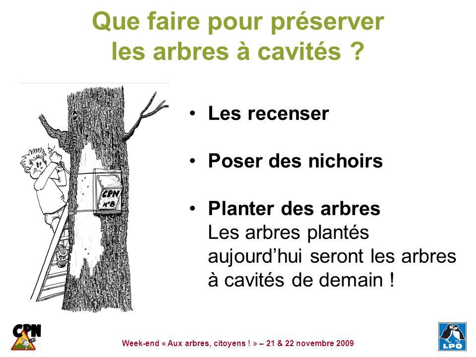 Week-end « Aux arbres, citoyens ! » – 21 & 22 novembre 2009 Que faire pour préserver les arbres à cavités ? Les recenser Poser des nichoirs Planter de