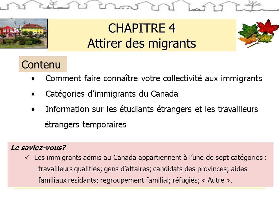 CHAPITRE 4 Attirer des migrants Le saviez-vous.