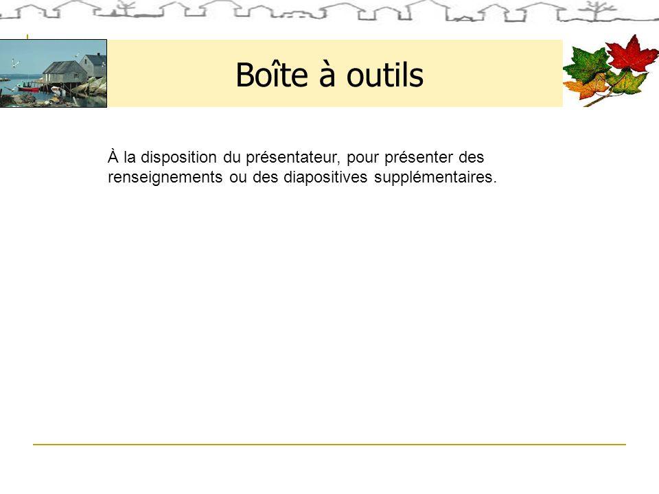 Boîte à outils À la disposition du présentateur, pour présenter des renseignements ou des diapositives supplémentaires.