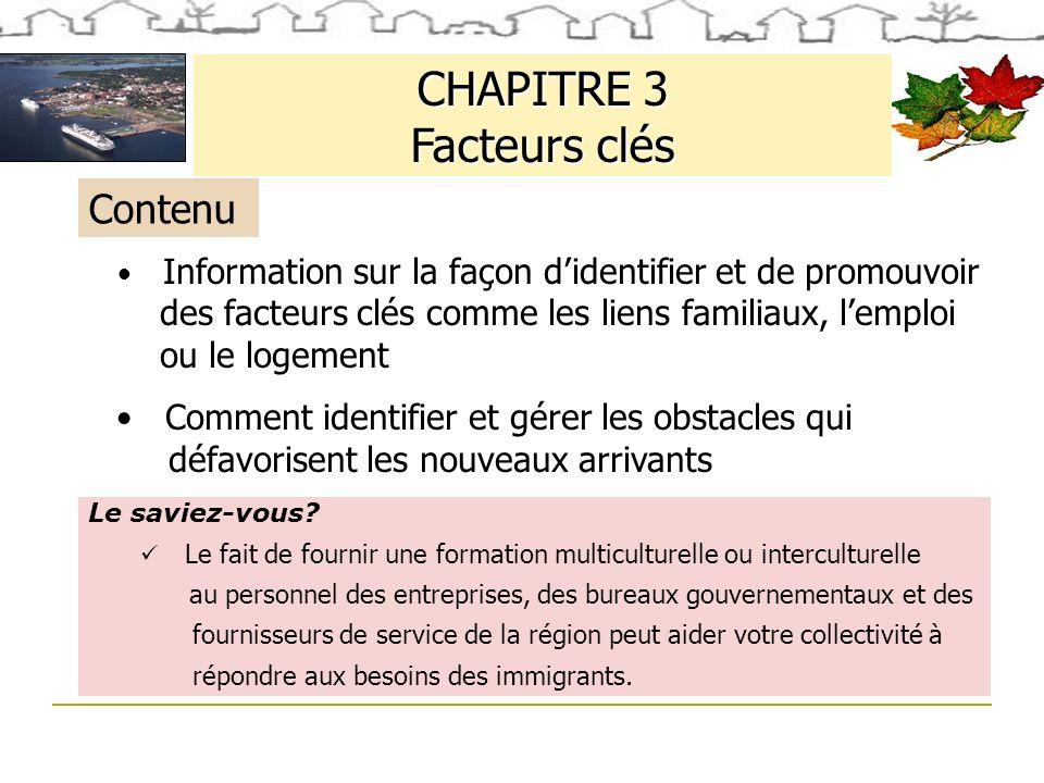 CHAPITRE 3 Facteurs clés Le saviez-vous.