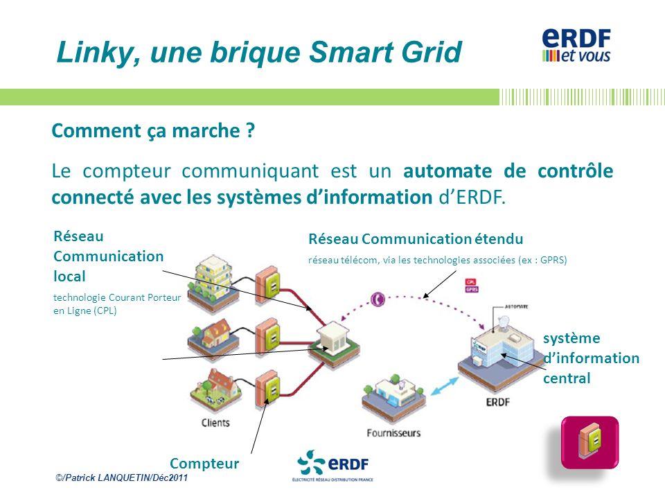 ©/Patrick LANQUETIN/Déc2011 Linky, une brique Smart Grid Comment ça marche ? Le compteur communiquant est un automate de contrôle connecté avec les sy