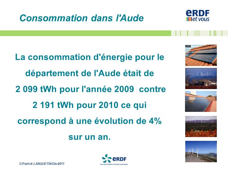 ©/Patrick LANQUETIN/Déc2011 Consommation dans l'Aude La consommation d'énergie pour le département de l'Aude était de 2 099 tWh pour l'année 2009 cont