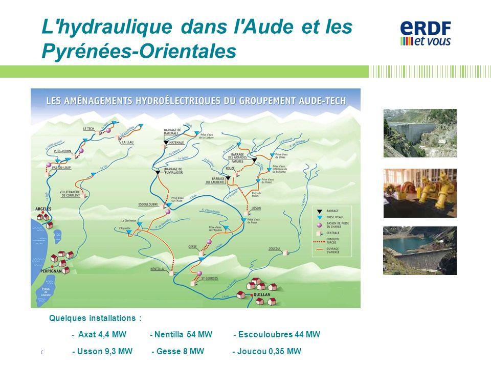©/Patrick LANQUETIN/Déc2011 L'hydraulique dans l'Aude et les Pyrénées-Orientales Quelques installations : - Axat 4,4 MW - Nentilla 54 MW - Escouloubre