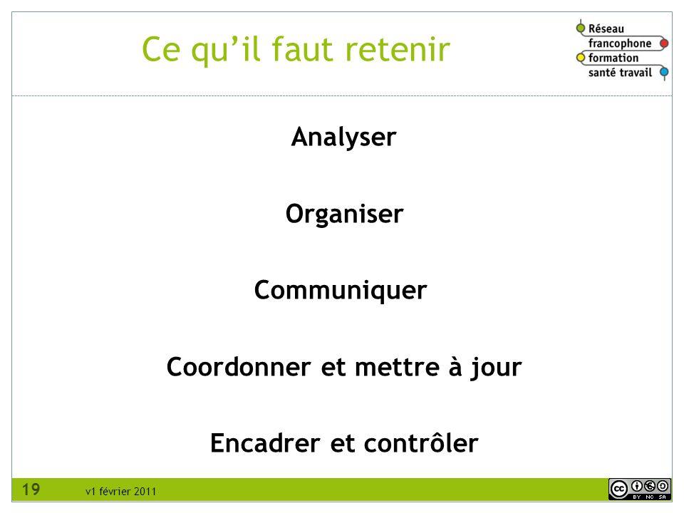 v1 février 2011 Analyser Organiser Communiquer Coordonner et mettre à jour Encadrer et contrôler Ce quil faut retenir 19