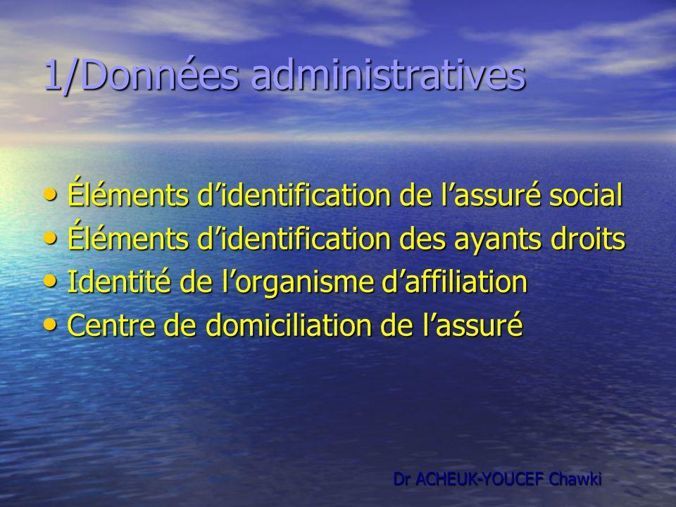 1/Données administratives Éléments didentification de lassuré social Éléments didentification de lassuré social Éléments didentification des ayants dr