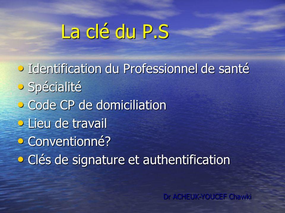 La clé du P.S La clé du P.S Identification du Professionnel de santé Identification du Professionnel de santé Spécialité Spécialité Code CP de domicil