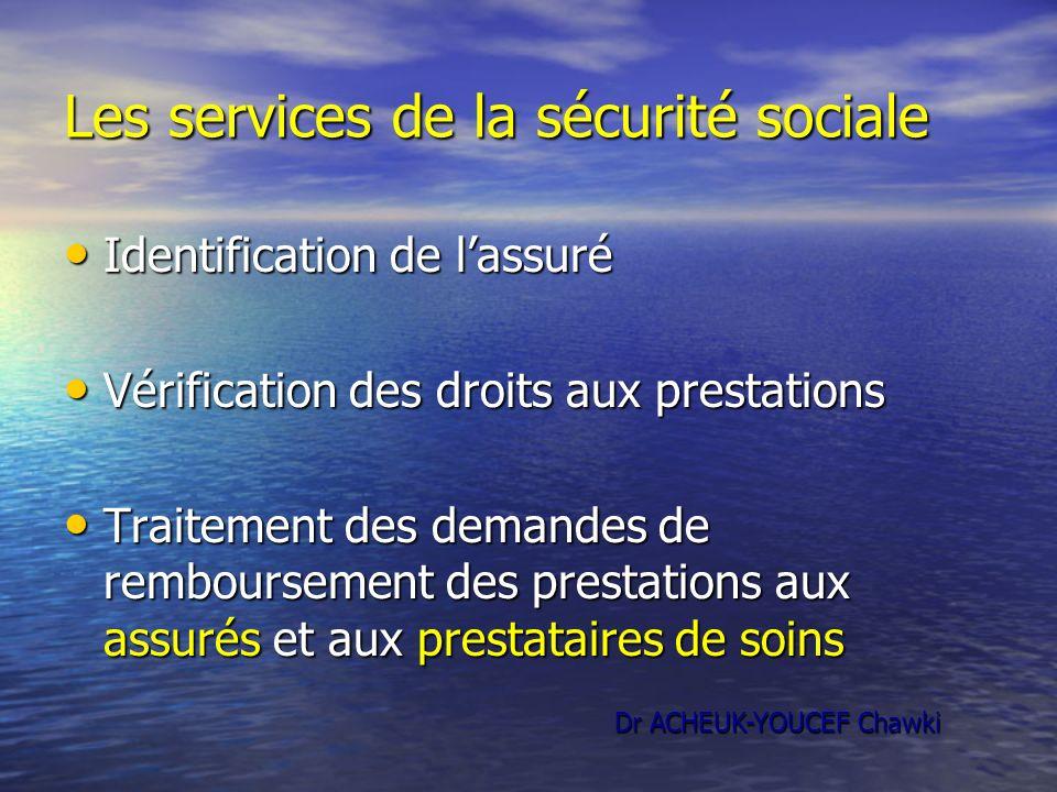 Les services de la sécurité sociale Identification de lassuré Identification de lassuré Vérification des droits aux prestations Vérification des droit