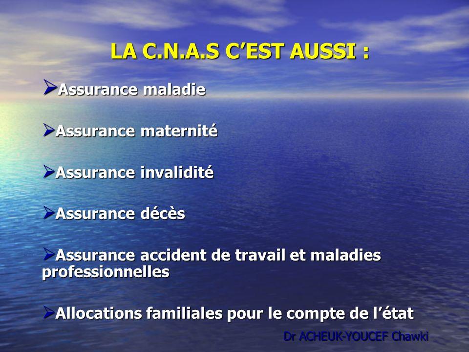 LA C.N.A.S CEST AUSSI : Assurance maladie Assurance maladie Assurance maternité Assurance maternité Assurance invalidité Assurance invalidité Assuranc