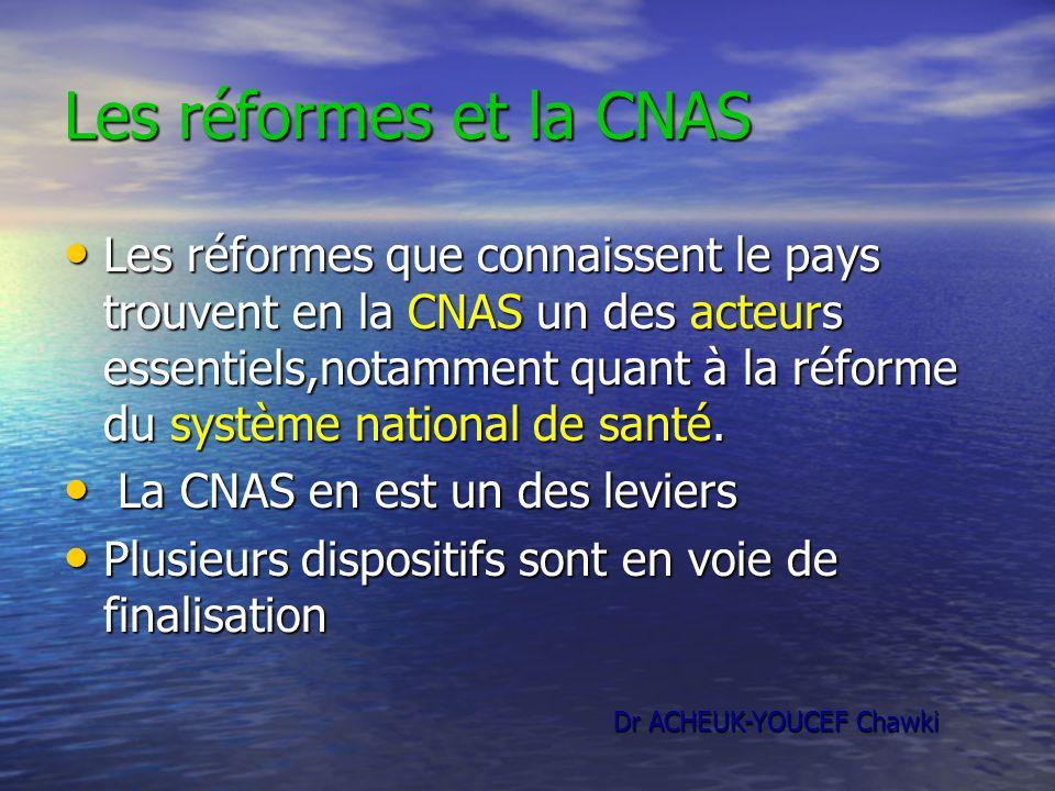 Les réformes et la CNAS Les réformes que connaissent le pays trouvent en la CNAS un des acteurs essentiels,notamment quant à la réforme du système nat