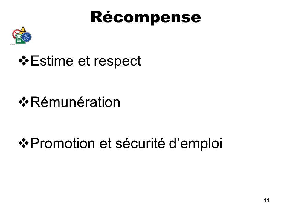 11 Récompense Estime et respect Rémunération Promotion et sécurité demploi