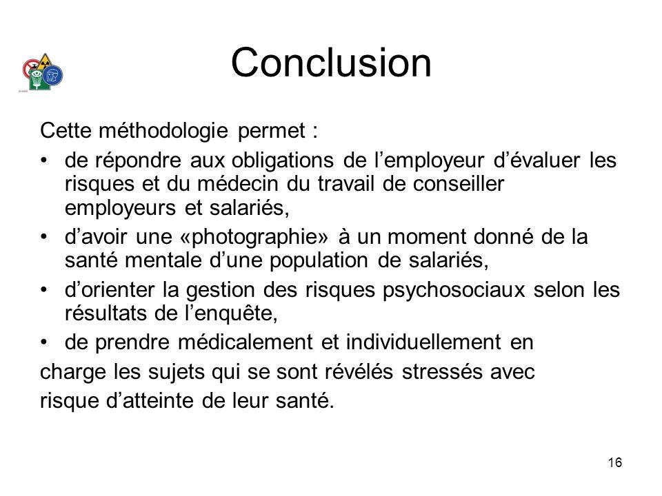 16 Conclusion Cette méthodologie permet : de répondre aux obligations de lemployeur dévaluer les risques et du médecin du travail de conseiller employ