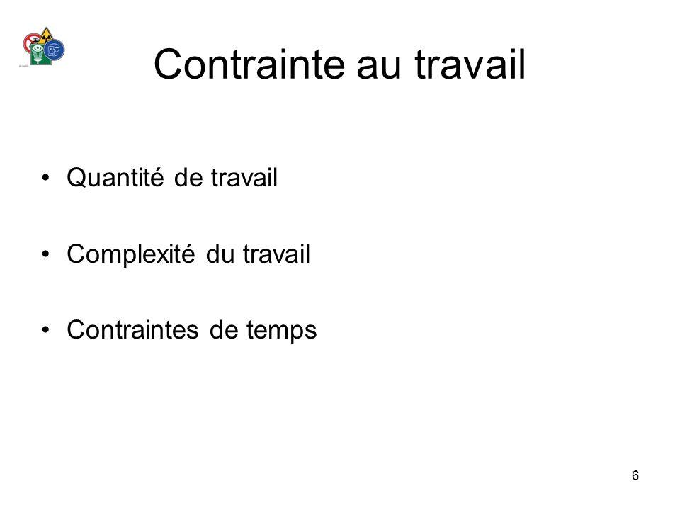 6 Contrainte au travail Quantité de travail Complexité du travail Contraintes de temps
