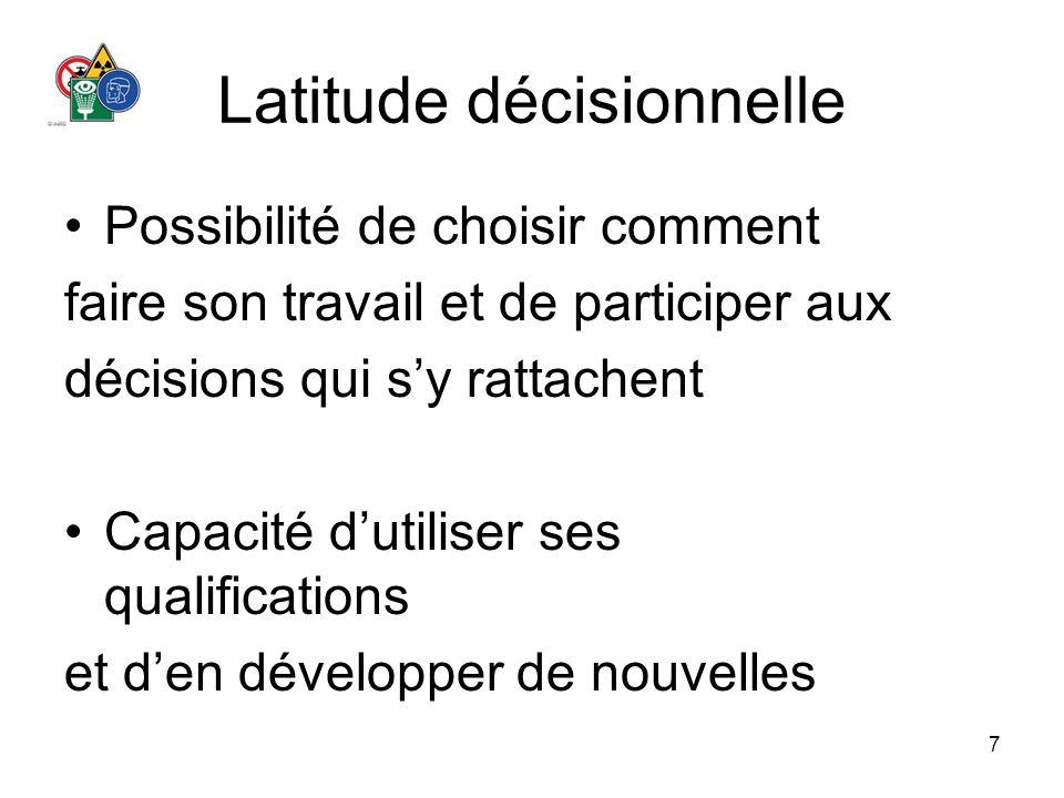 7 Latitude décisionnelle Possibilité de choisir comment faire son travail et de participer aux décisions qui sy rattachent Capacité dutiliser ses qual