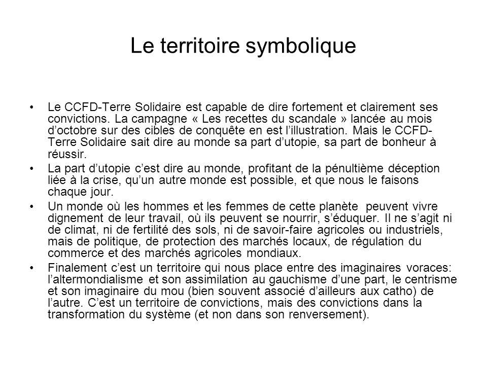 Le territoire symbolique Le CCFD-Terre Solidaire est capable de dire fortement et clairement ses convictions. La campagne « Les recettes du scandale »