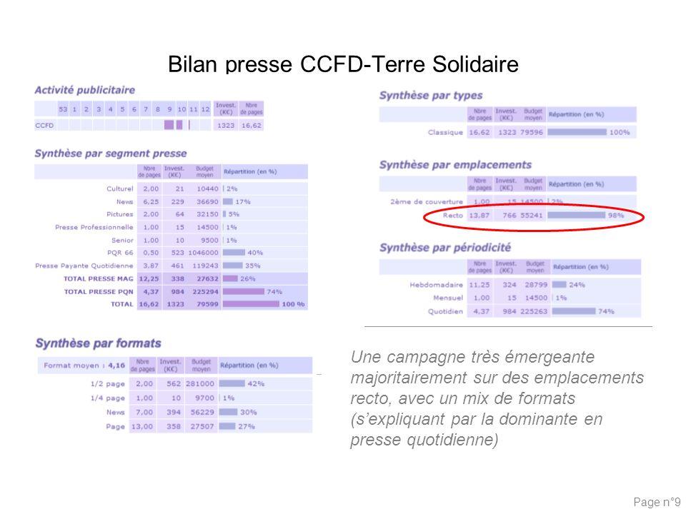 Page n°9 Bilan presse CCFD-Terre Solidaire Une campagne très émergeante majoritairement sur des emplacements recto, avec un mix de formats (sexpliquan