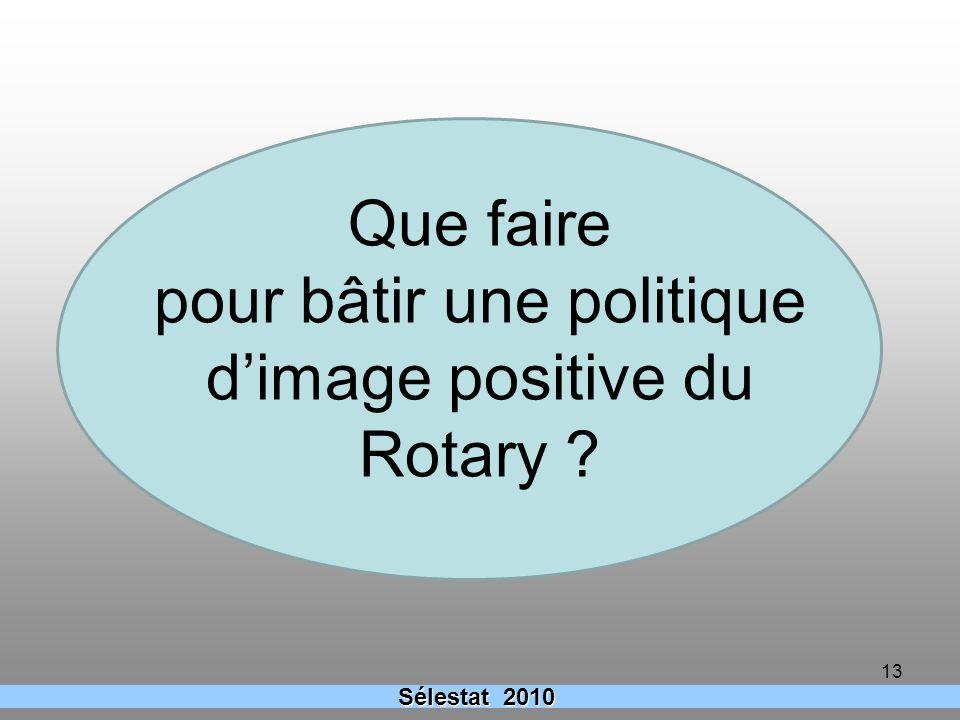 13 Que faire pour bâtir une politique dimage positive du Rotary ? Sélestat 2010