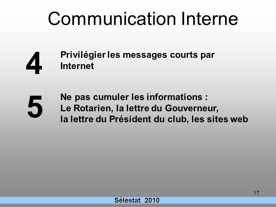 17 Ne pas cumuler les informations : Le Rotarien, la lettre du Gouverneur, la lettre du Président du club, les sites web 5 4 Privilégier les messages