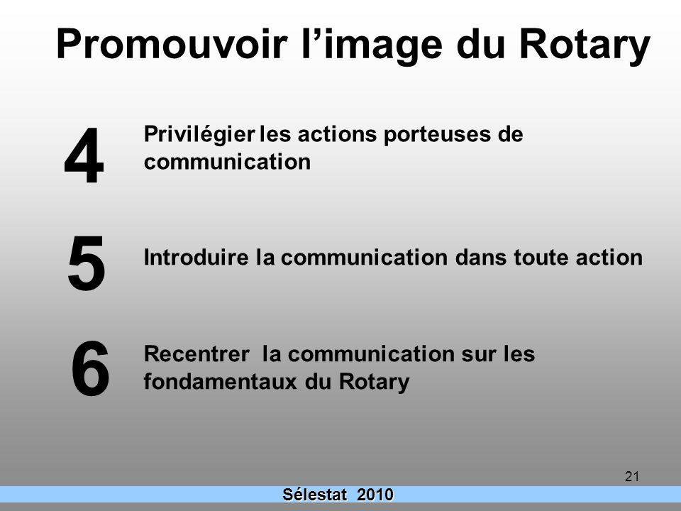 21 Introduire la communication dans toute action 5 4 Privilégier les actions porteuses de communication Promouvoir limage du Rotary Sélestat 2010 Rece