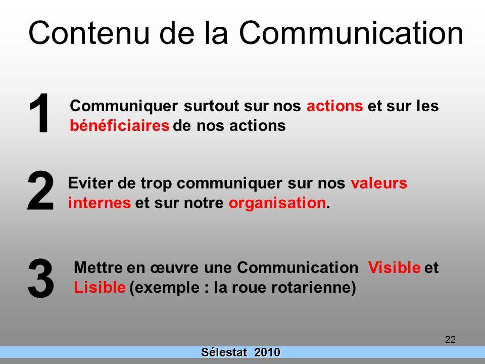 22 Sélestat 2010 Contenu de la Communication Communiquer surtout sur nos actions et sur les bénéficiaires de nos actions Eviter de trop communiquer su