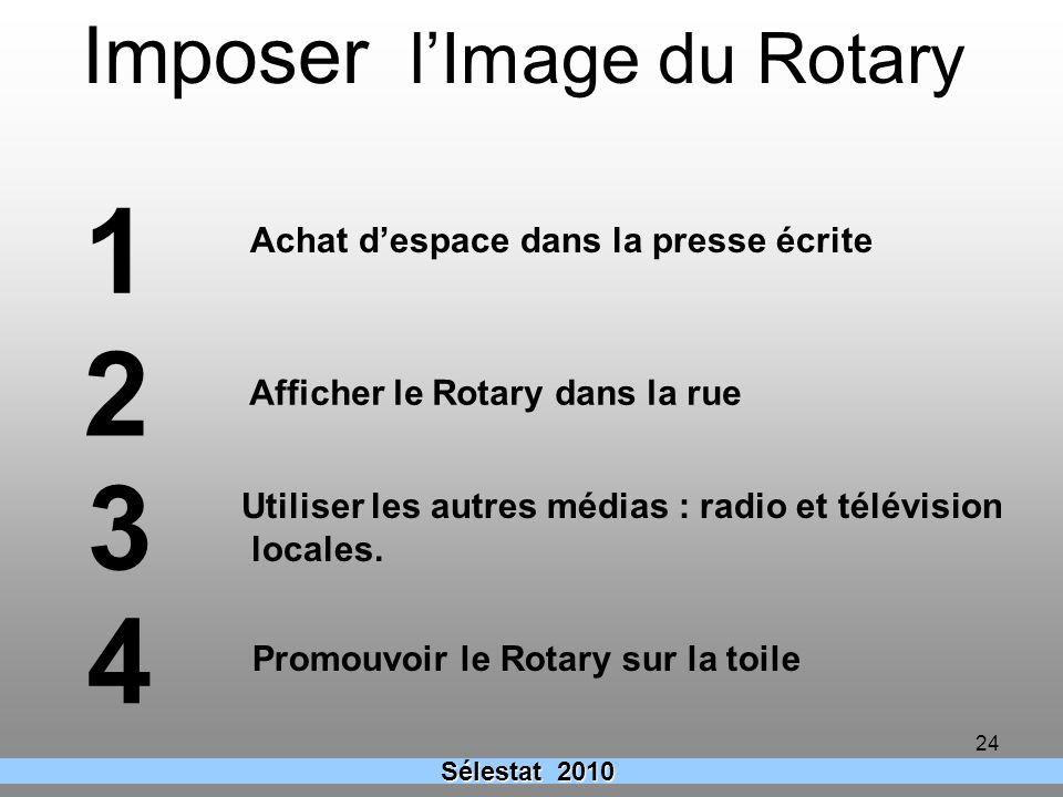 24 Sélestat 2010 Imposer lImage du Rotary Achat despace dans la presse écrite Afficher le Rotary dans la rue Utiliser les autres médias : radio et tél