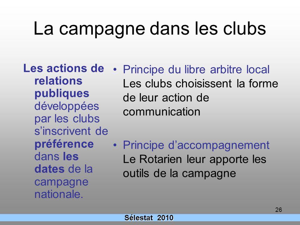 26 La campagne dans les clubs Principe du libre arbitre local Les clubs choisissent la forme de leur action de communication Principe daccompagnement