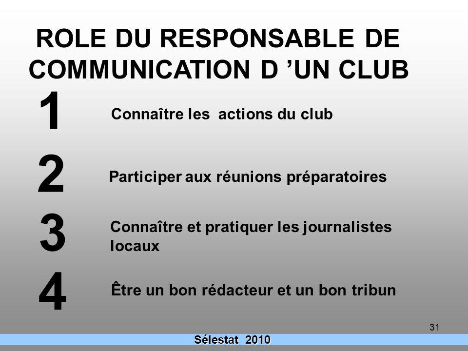 31 Sélestat 2010 ROLE DU RESPONSABLE DE COMMUNICATION D UN CLUB Connaître les actions du club Participer aux réunions préparatoires Connaître et prati