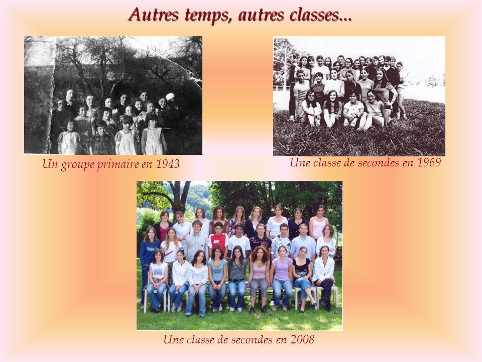 Autres temps, autres classes... Un groupe primaire en 1943 Une classe de secondes en 1969 Une classe de secondes en 2008
