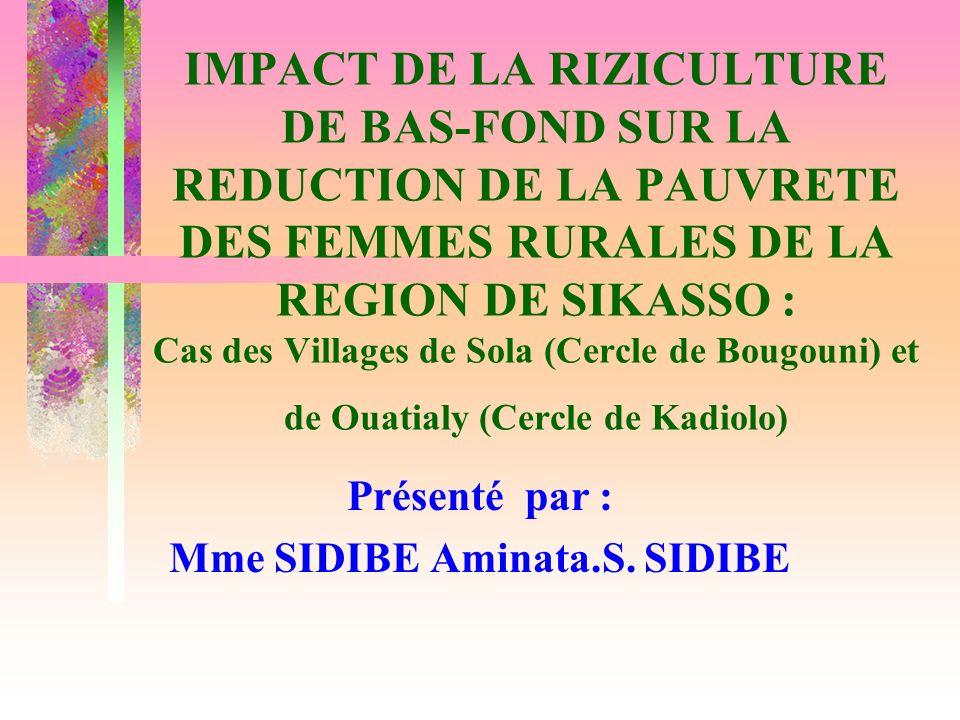 11 OBJECTIFS analyser les contraintes de production de la riziculture de bas- fond ; analyser limpact de la riziculture de bas-fond sur le revenu ; et sur les différents indicateurs de pauvreté des femmes.