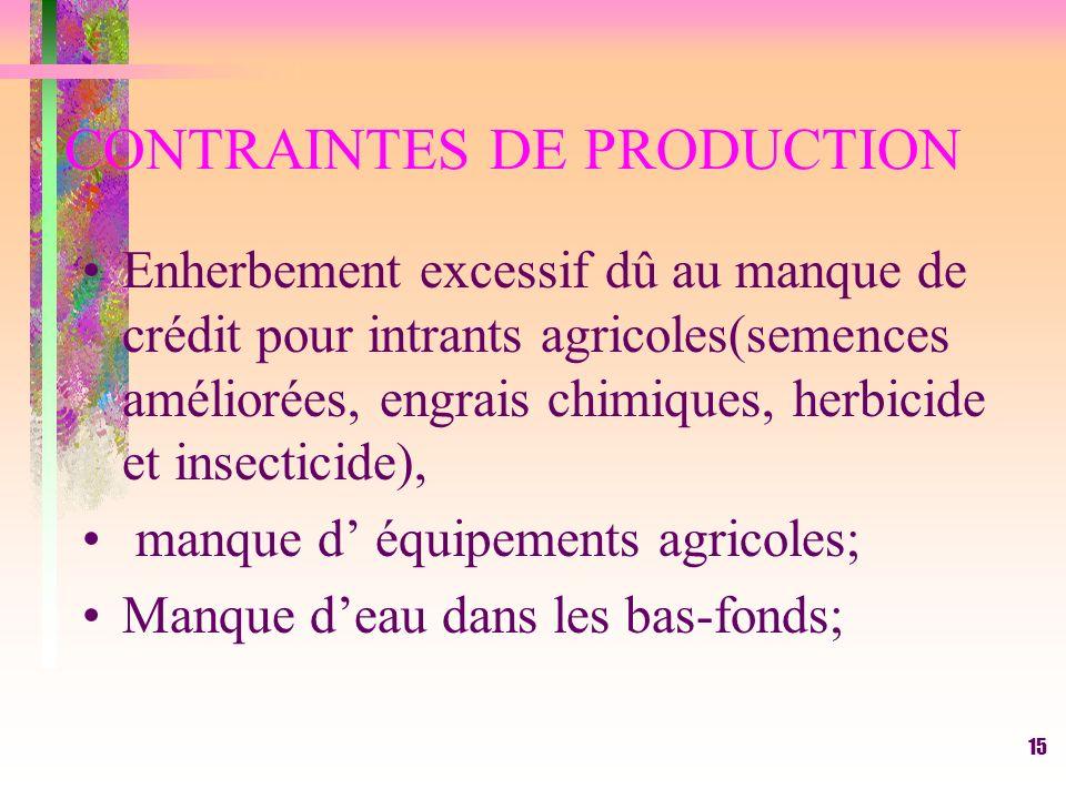 RESULTAS ET DISCUSSIONS. Contraintes de production. Impact de la riziculture de bas-fonds sur le revenu des femmes;. Impact de la riziculture de bas-f