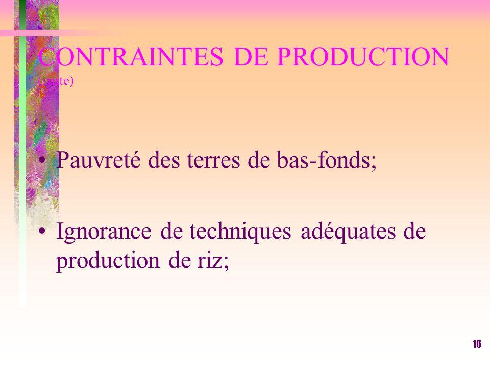 15 CONTRAINTES DE PRODUCTION Enherbement excessif dû au manque de crédit pour intrants agricoles(semences améliorées, engrais chimiques, herbicide et