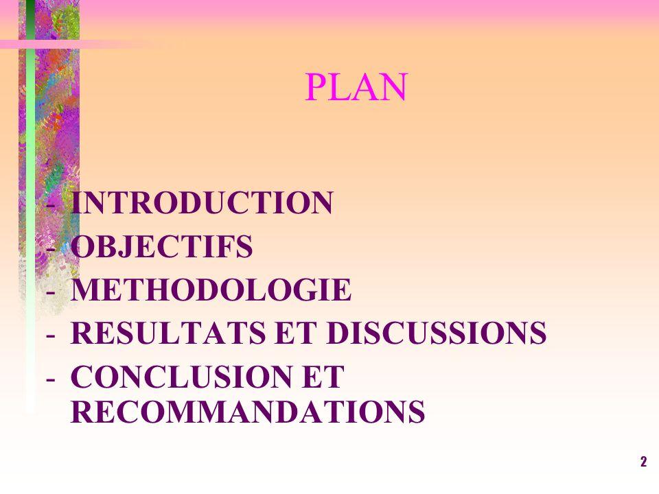 2 PLAN -INTRODUCTION -OBJECTIFS -METHODOLOGIE -RESULTATS ET DISCUSSIONS -CONCLUSION ET RECOMMANDATIONS