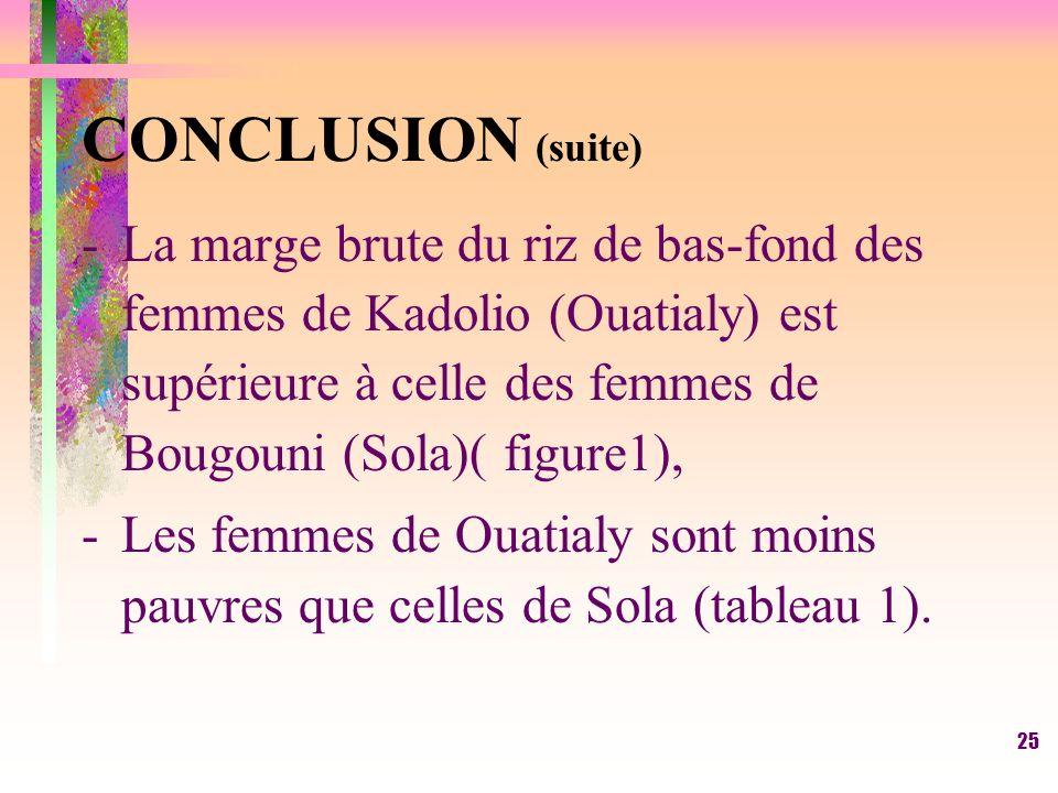24 CONCLUSION -La riziculture de bas-fonds nest pas une activité de lutte contre la pauvreté pour les femmes rurales de Sola et de Ouatialy; -les femm