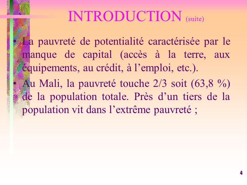 4 INTRODUCTION (suite) La pauvreté de potentialité caractérisée par le manque de capital (accès à la terre, aux équipements, au crédit, à lemploi, etc.).