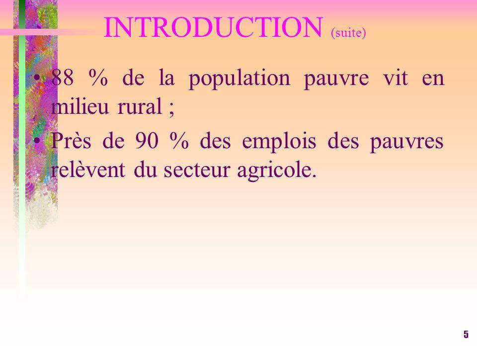 5 INTRODUCTION (suite) 88 % de la population pauvre vit en milieu rural ; Près de 90 % des emplois des pauvres relèvent du secteur agricole.