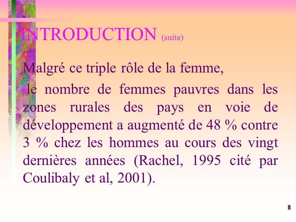 8 INTRODUCTION (suite) Malgré ce triple rôle de la femme, le nombre de femmes pauvres dans les zones rurales des pays en voie de développement a augmenté de 48 % contre 3 % chez les hommes au cours des vingt dernières années (Rachel, 1995 cité par Coulibaly et al, 2001).