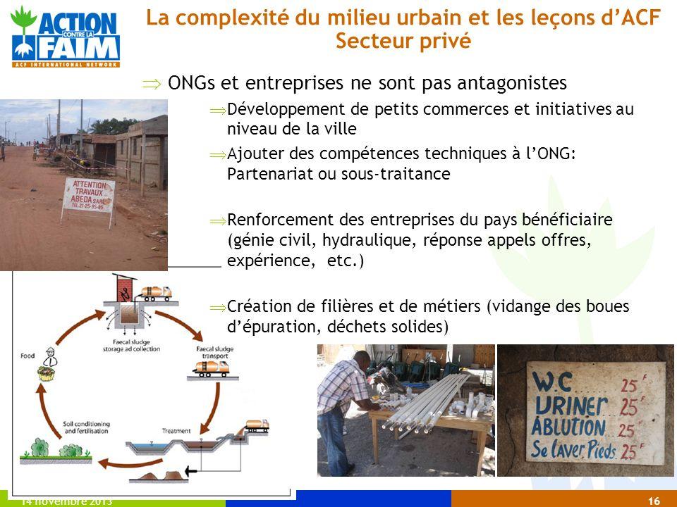 14 novembre 201316 La complexité du milieu urbain et les leçons dACF Secteur privé ONGs et entreprises ne sont pas antagonistes Développement de petit