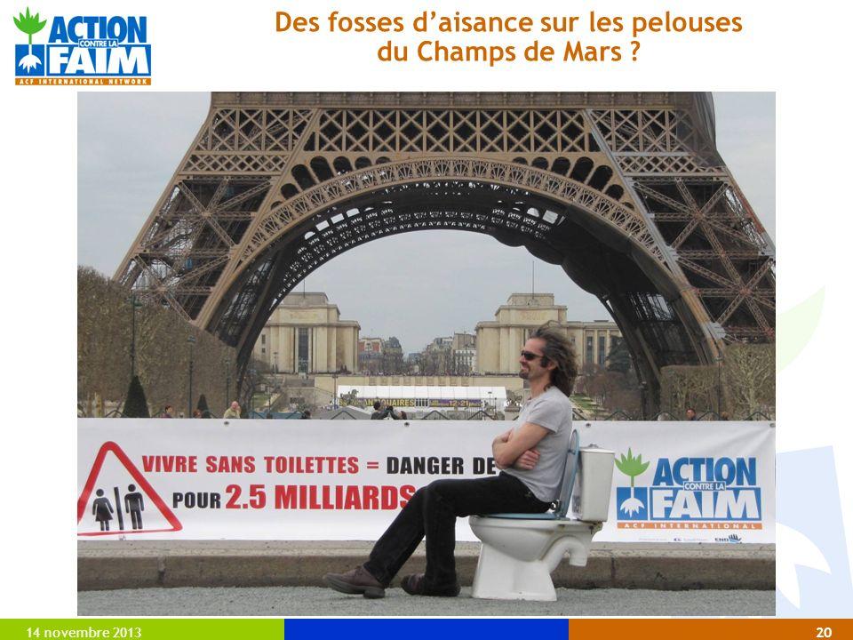 14 novembre 201320 Des fosses daisance sur les pelouses du Champs de Mars ?