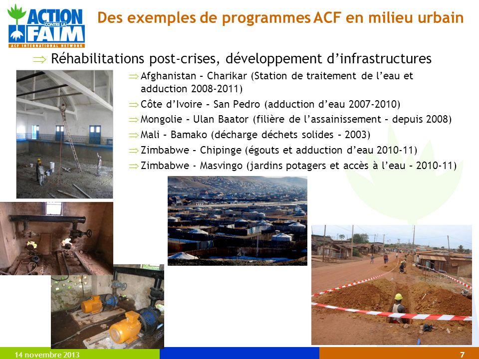 14 novembre 20137 Réhabilitations post-crises, développement dinfrastructures Afghanistan – Charikar (Station de traitement de leau et adduction 2008-