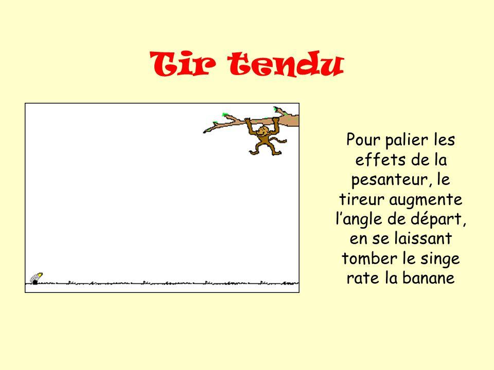 Tir tendu Pour palier les effets de la pesanteur, le tireur augmente langle de départ, en se laissant tomber le singe rate la banane