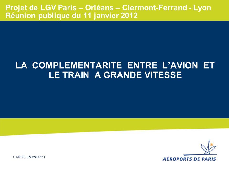 1 - DMOP – Décembre 2011 Projet de LGV Paris – Orléans – Clermont-Ferrand - Lyon Réunion publique du 11 janvier 2012 LA COMPLEMENTARITE ENTRE LAVION E