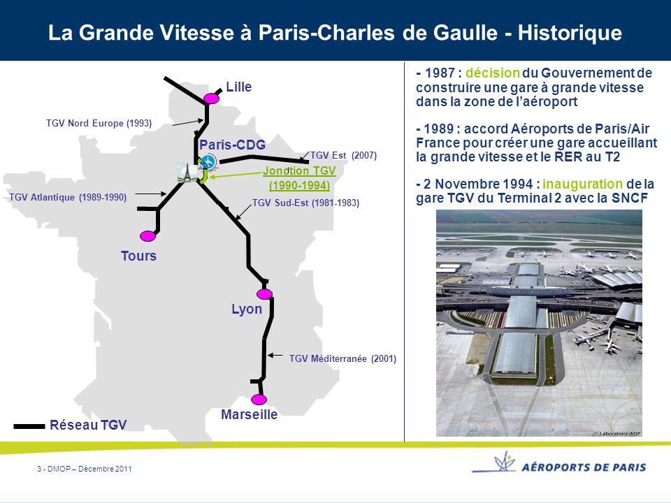 3 - DMOP – Décembre 2011 La Grande Vitesse à Paris-Charles de Gaulle - Historique Jonction TGV (1990-1994) Marseille Lille Lyon TGV Nord Europe (1993)