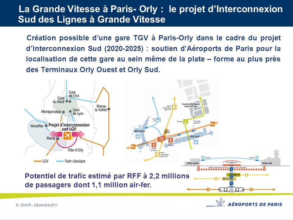 6 - DMOP – Décembre 2011 La Grande Vitesse à Paris- Orly : le projet dInterconnexion Sud des Lignes à Grande Vitesse Création possible dune gare TGV à