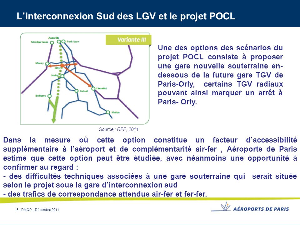 8 - DMOP – Décembre 2011 Linterconnexion Sud des LGV et le projet POCL Source : RFF, 2011 Une des options des scénarios du projet POCL consiste à prop