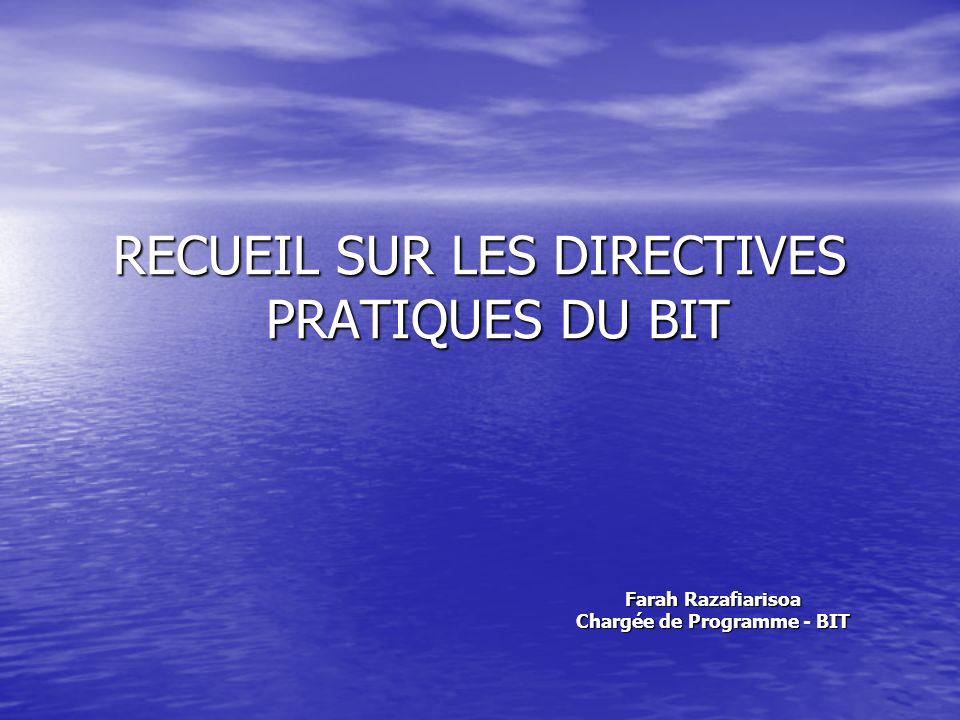 Recueil de Directives Pratiques An ILO code of practice on HIV/AIDS and the world of work International Labour Office Geneva Adopté par le Conseil dadministration du BIT le 22 juin 2001