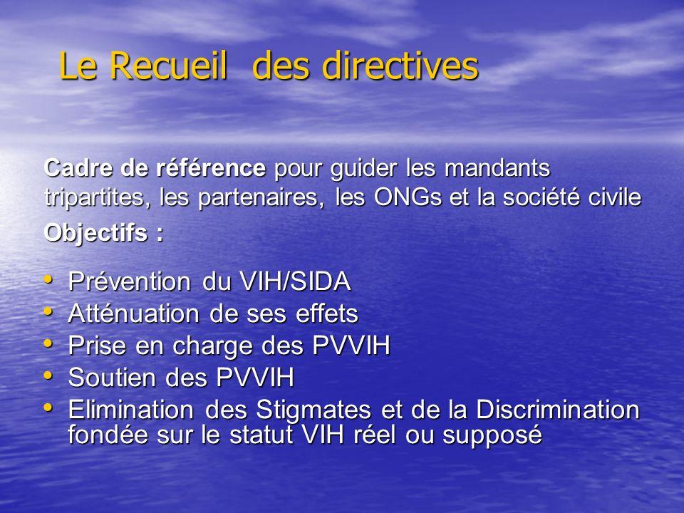 Le Recueil des directives Prévention du VIH/SIDA Prévention du VIH/SIDA Atténuation de ses effets Atténuation de ses effets Prise en charge des PVVIH