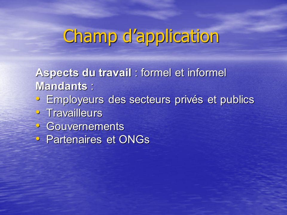 Champ dapplication Aspects du travail : formel et informel Mandants : Employeurs des secteurs privés et publics Employeurs des secteurs privés et publ