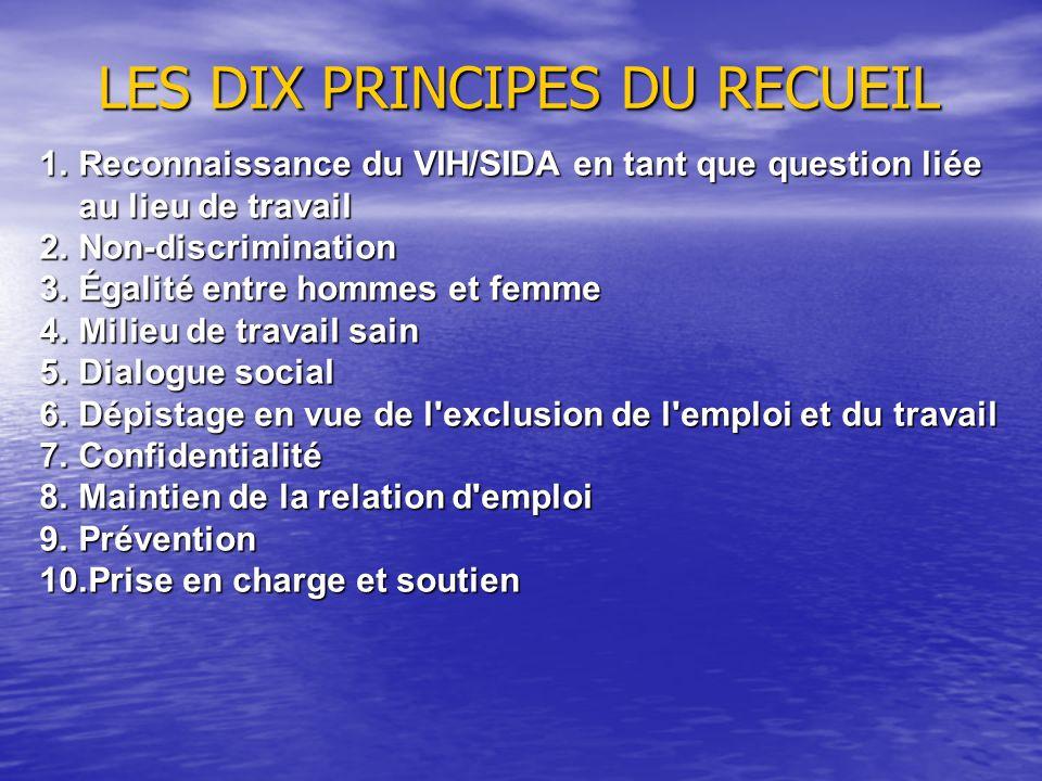 LES DIX PRINCIPES DU RECUEIL 1.Reconnaissance du VIH/SIDA en tant que question liée au lieu de travail 2.Non-discrimination 3.Égalité entre hommes et