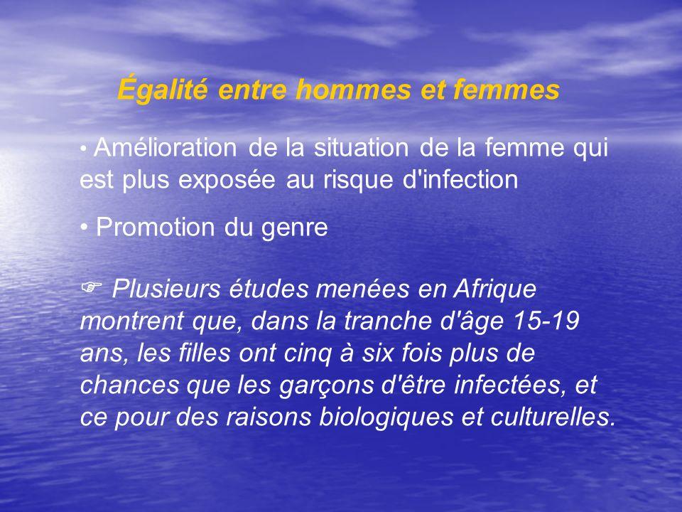Égalité entre hommes et femmes Amélioration de la situation de la femme qui est plus exposée au risque d'infection Promotion du genre Plusieurs études