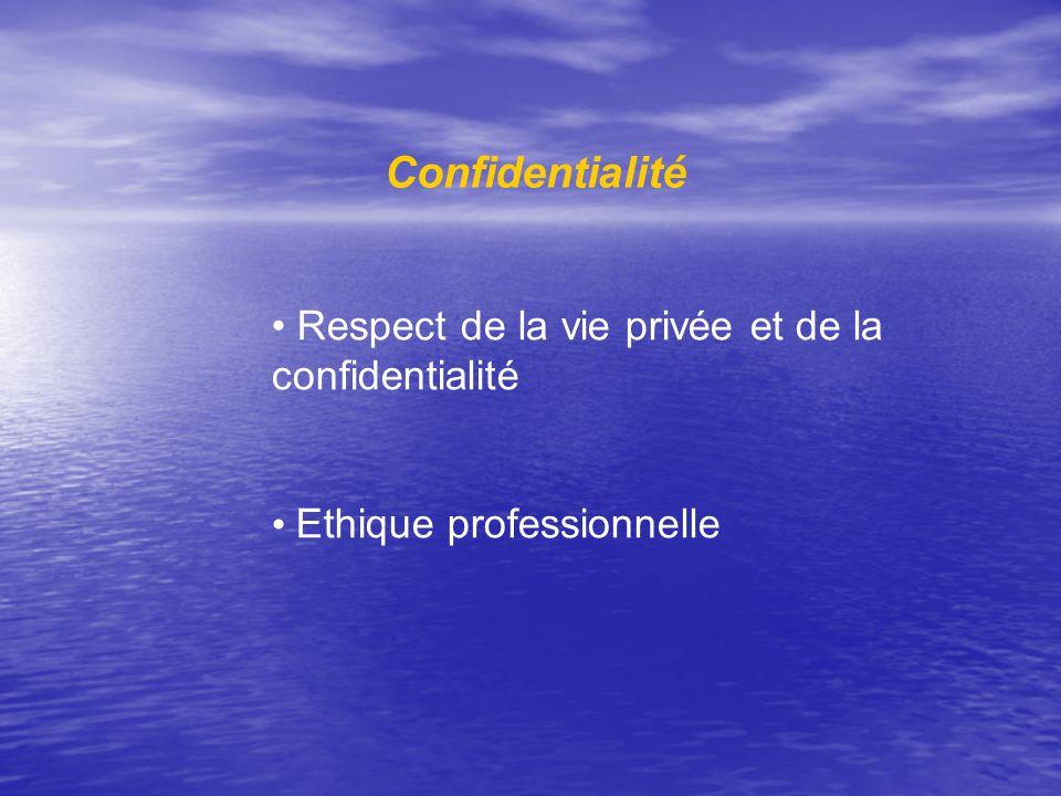 Confidentialité Respect de la vie privée et de la confidentialité Ethique professionnelle