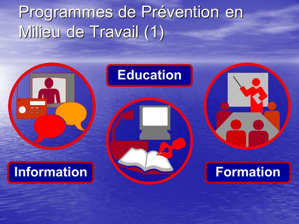 Programmes de Prévention en Milieu de Travail (1) FormationInformation Education